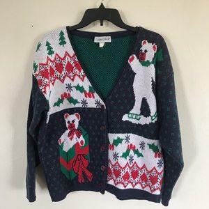 Ugly Christmas Sweater Vintage Bear Cardigan